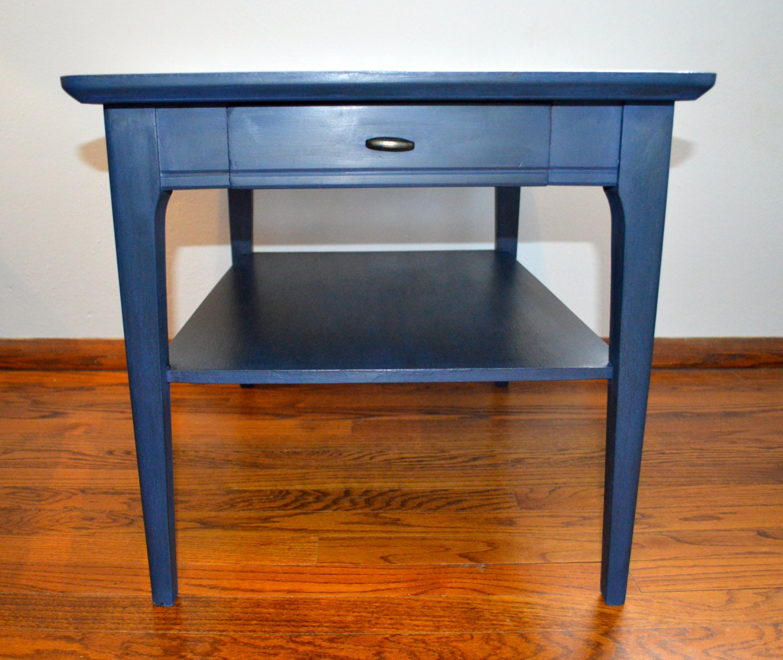 navy blue mid century modern refurbished end table by grovejobshop. Black Bedroom Furniture Sets. Home Design Ideas