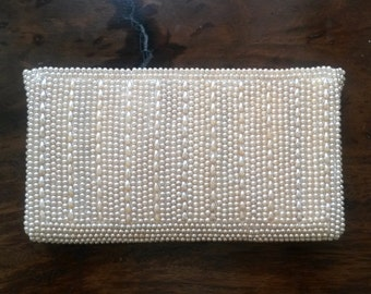 Beaded 1950's Miranda Clutch // Champagne
