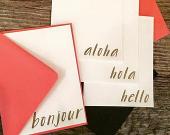 Letterpress 'Hello' Note Cards Four Ways