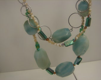 Large Faceted Stones Amazonite Necklace in Sterling Silver 4 Ounces 350