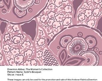 Downton Abbey Fabric - Sybil's Bouquet in Pink Purple