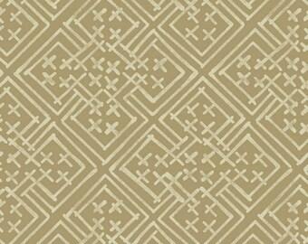 Midnight Blues - Tan Geometric Print Fabric