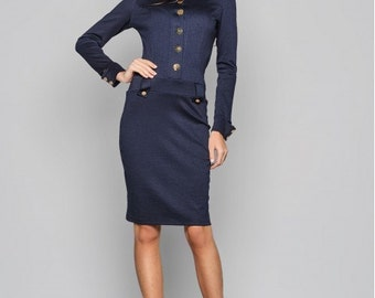 Dark blue dress. Autumn dress for woman. Blue dress with long sleeves. Dress decorated with buttons. Dress stand collar