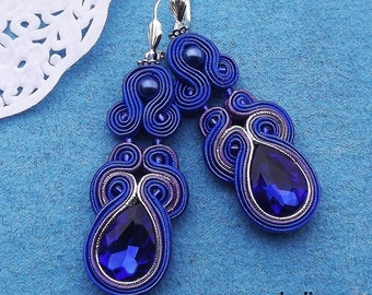 Shappire & Purple soutache  earrings