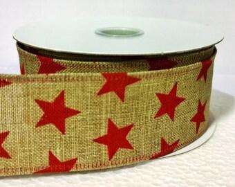 """1.5"""" Red Star Burlap Ribbon (3 Yards)  - Q531209-10"""