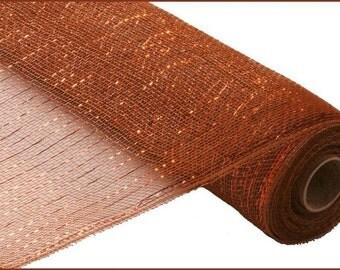 "21"" Brown Metallic Deco Mesh, Copper Foil Deco Poly Mesh - (10 Yards) - RE100104"