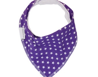 Purple Stars Dribble Bib - Handmade Australian Adjustable Bib for Baby Girls - Made in Sydney