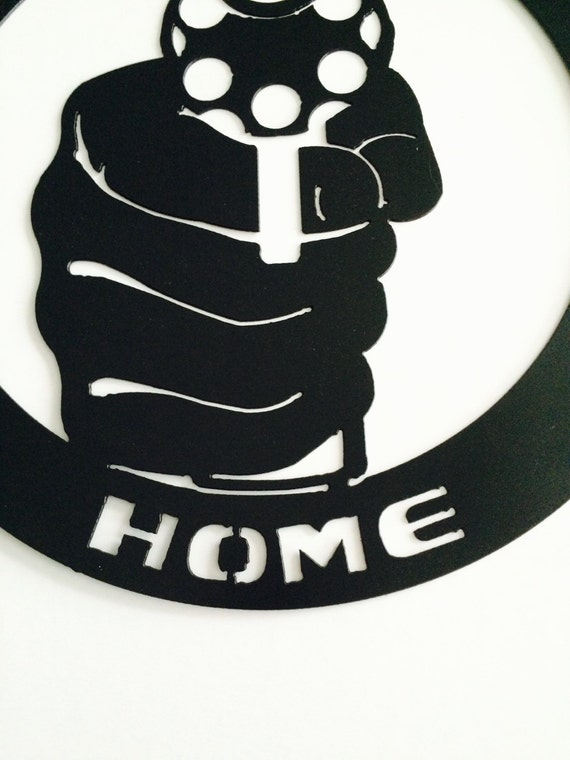Metal Wrong Home Gun Sign 2nd Amendment By Marriedtothemetal