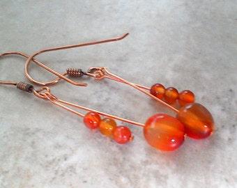 Carnelian Gemstone Drop Earrings A