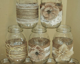 Set of 10 Mason Jar Sleeves, Burlap Wedding Decorations, Rustic Wedding Centerpieces, Burlap and Lace, Jar not Included