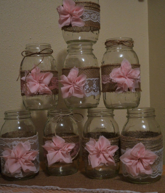 Rustic burlap lace mason jar wedding or baby shower girl