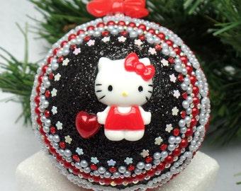 Black, Red & White Kitty Christmas Ornament