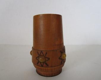 Vintage wooden dice cup, Vintage dice game, Workshop organizer, Office decor, Vintage handmade leather dice cup, Pencil cup