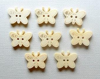 8 Butterfly Buttons -  DIY - 23mm x 18mm - Buttons - #DIY-00005