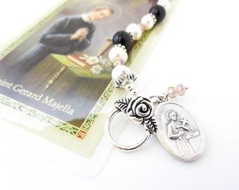 SAINT Gerard  fertility bracelet Black Onyx Freshwater, Double sided engraved Pendant, Fertility Prayer Catholic Prayer Card