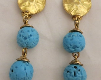 Huge PHILIPPE FERRANDIS Paris Haute Couture Turquoise Resin Drop Earrings