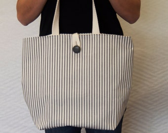 Canvas Tote Bag, Canvas Tote, Beach Tote, Ticking Stripe Cotton Canvas Carry-all Bag