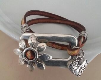 leather wrap around bracelet WL311