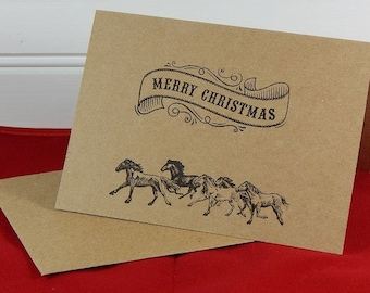 Merry Christmas With Horses Cards, Holiday Cards, Greeting Cards, Christmas Cards