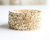 Gold Cube Beaded Cuff  Bracelet, Seed Bead Bracelet, Beaded Bracelet, Beaded jewelry, Bangle Bracelet, Gold Plated Bracelet, Gift for Woman