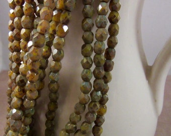 PINEAPPLE MOSS 4mm Firepolish Chartreuse Picasso Czech Glass Faceted Rounds - Olive Green Gray Mustard Yellow Earthy Rustic - Qty 50 (4-004)