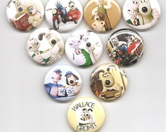 Wallace and Gromit Classic Set of 10 Pins Button Badge Pinback