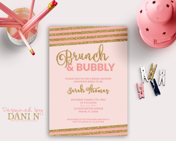 bridal shower invitation brunch bubbly bridal shower stripes