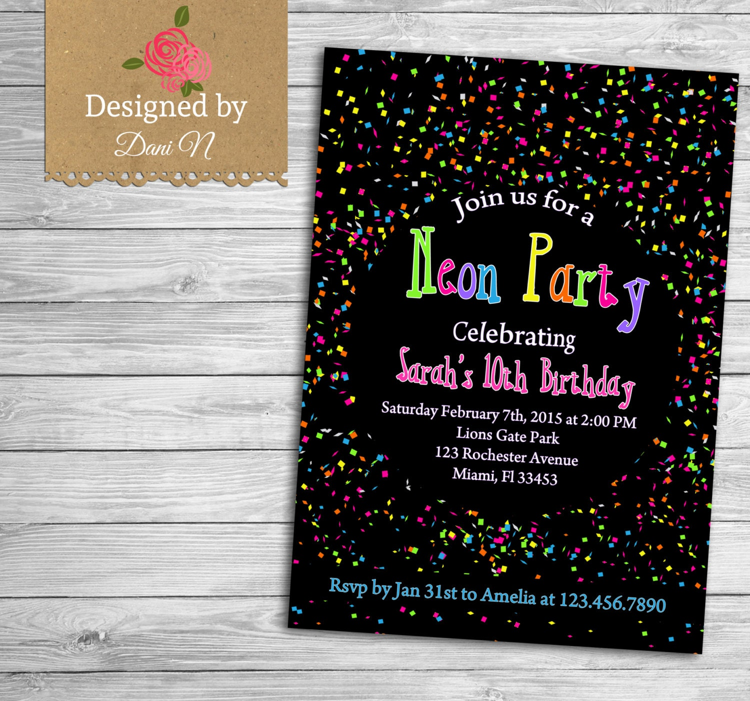 neon party birthday invitation confetti birthday invite