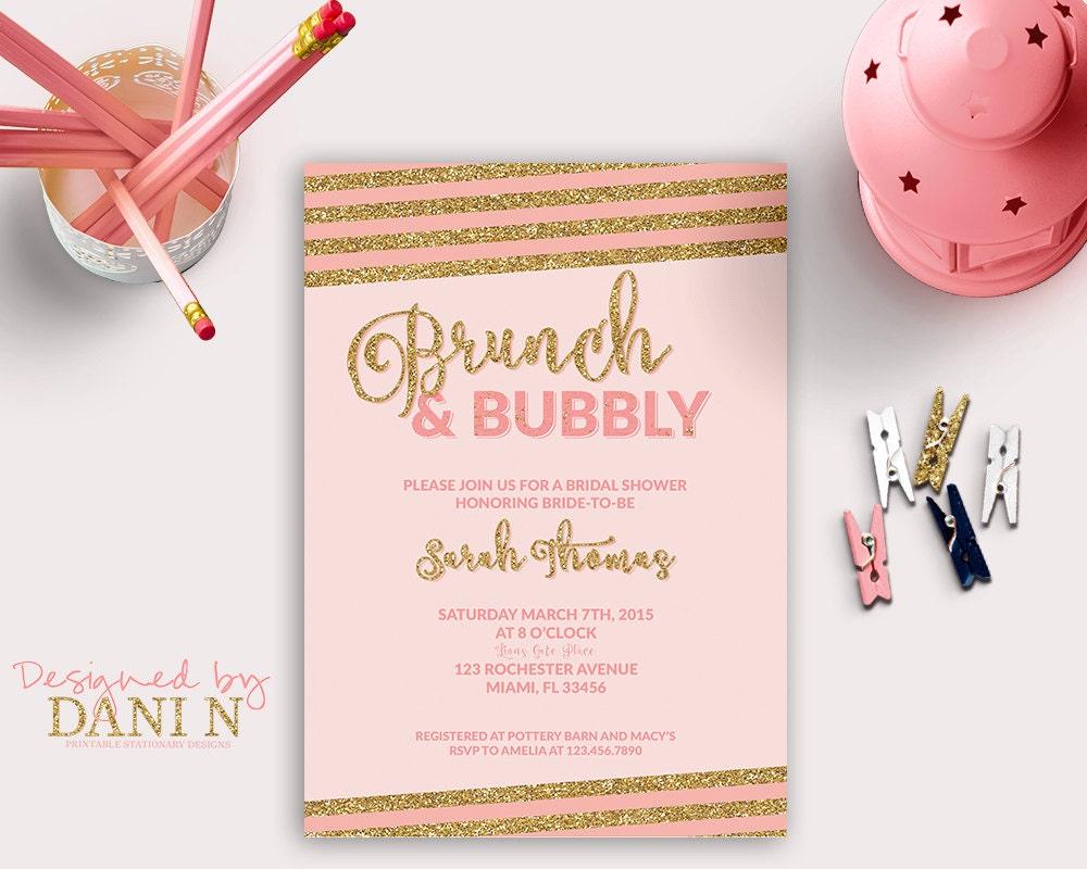 Wedding Shower Invitation: Bridal Shower Invitation Brunch & Bubbly Bridal Shower