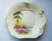 Vintage Sandwich Plate, Cake Plate, Serving Plate, Art Deco Scottish Lochs and Heather