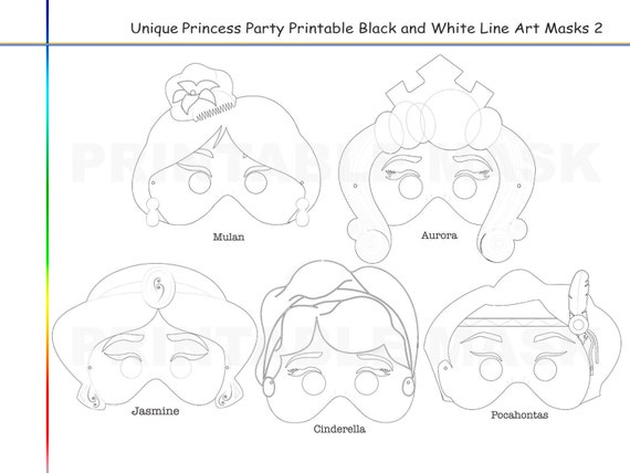 Coloring Pages Princess Party Printable Black And White Line Art Masks Mulan Aurora Jasmine Pocahontas Kids Dress Up Mask Photo Props