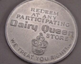 """1970s Dairy Queen Free Sundae or 40 Cent Trade Token - Aluminum - 1 1/2"""" Dia"""