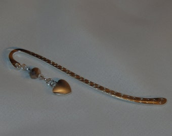 Pretty silver heart bookmark with Swarovski crystals