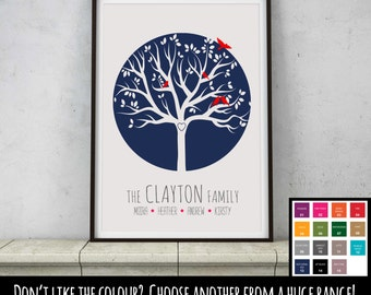Personalised Family Tree Birds Print Picture - Wedding Birthday Engagement Anniversary Gift Present