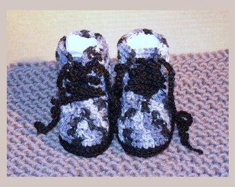 3 Month Baby Crocheted Camo/Army & Black Combat Boots 11cm Sole