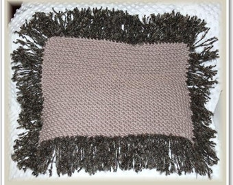 Newborn Baby Crocheted Layering/Posing Blanket, Light Brown with Chocolate Multi Fringing,  65cm wide x 50cm high (inc. fringe)