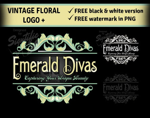 Vintage floral logo set, FREE plus watermark and black and white version, wreath frame logo design, green and creme logo, decorative logo