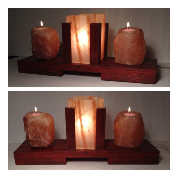 Himalayan Salt Block Lamp and Candle Holders. by ALIBABA420