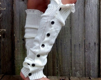 Womens Button Down Boot Cuffs with Lace trim.