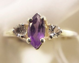 Sterling Silver Amethyst Marquise Ring With White Topaz Side Stones