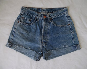 High waisted shorts, vintage blue distressed denim jean shorts, cut off cuffed frayed hotpants, XS small waist 26