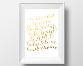 Taylor Swift Gold Foil Print Out Of The Woods Song Lyrics