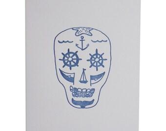 Nautical Sugar Skull Letterpress Print