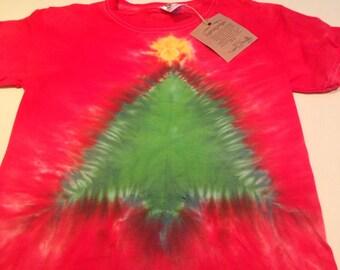 Red Christmas tree tye dye size xs