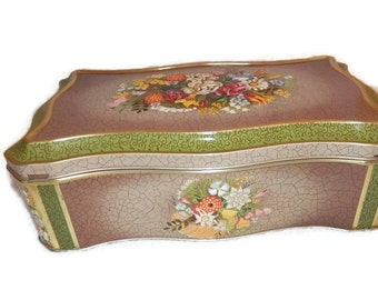 Vintage Decorative Flower Tin Made in Holland