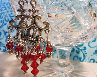 Silver and Red Crystal chandelier earrings