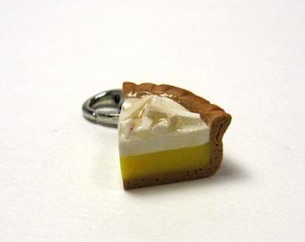 Mini Coconut Cream Pie Charm, Miniature Food Jewelry, Polymer clay