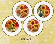 Sunflowers decor, sunflowers plates, sunflowers kitchen decor, flowers decor, flowers vintage, flowers prints, flowers wall art