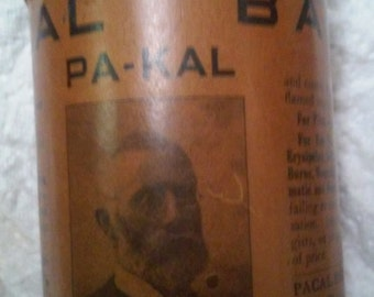 Antique 1906 Pacal Balm CURE ALL Wood Jar with Lid St. Louis MI Label Intact