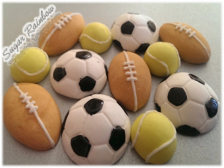 Soccer Ball Edible Sugar Decorations Endearing 12 Edible Sugar Footballs Tennis Rugby Balls Cake Cupcake Toppers Decorating Design